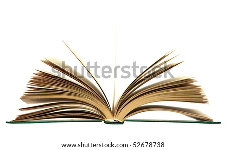 Isolated open book - stock photo