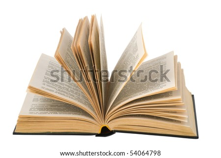Isolated open book. Clipping path. - stock photo