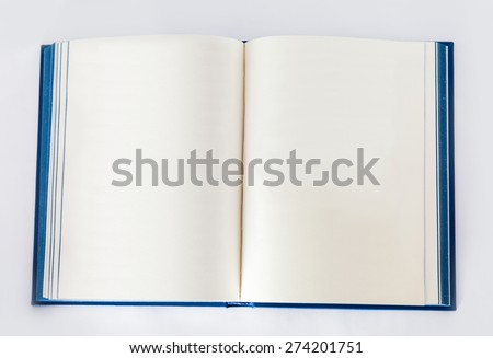 Isolated open book in blue cover - stock photo