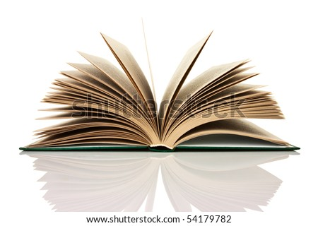 Isolated open book on the reflective surface of the table - stock photo