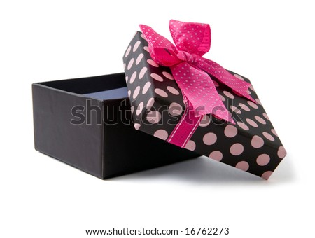 Isolated open brown gift box with pink ribbon - stock photo