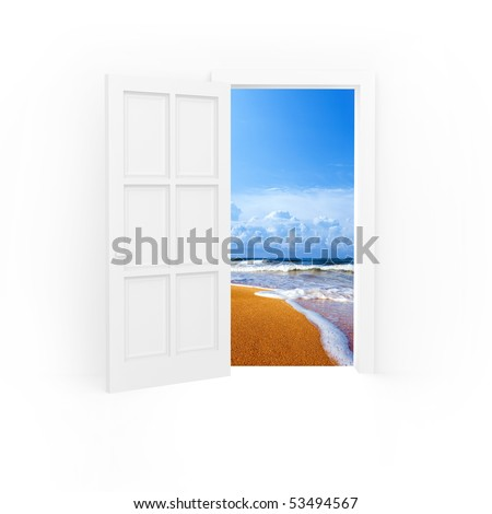 Isolated open door to beach and blue sea. - stock photo