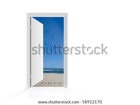 Isolated open door to beach with the word help - stock photo