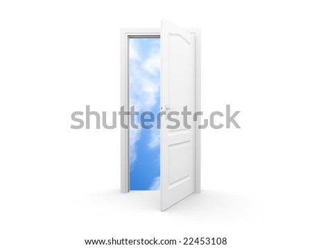 Isolated open door with sky view. For other similar images from the series, please, check my portfolio. - stock photo