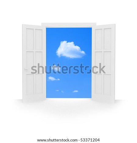 Isolated open double door to blue sky with white clouds. - stock photo