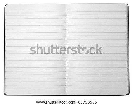 isolated open empty notebook with lined pages