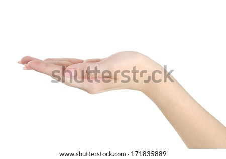 Isolated open hand gesture on white background