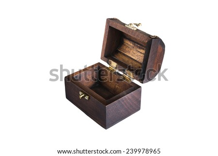 isolated open wood treasure box on the white background