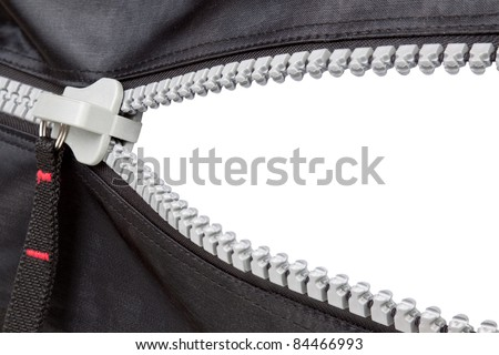 Isolated open zipper with a blank space. - stock photo