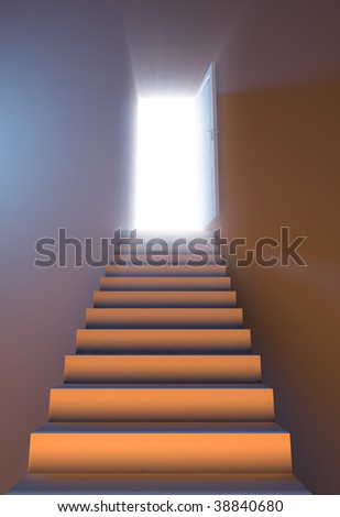isolated opened white door with light and stair - stock photo