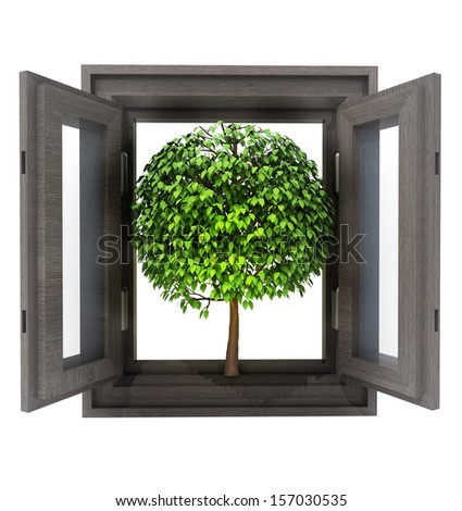 isolated opened window with leafy tree nature invitation illustration - stock photo