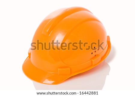 isolated orange building helmet - stock photo