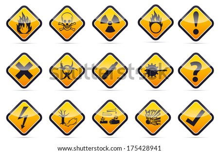 Isolated orange Danger sign collection with black border, reflection and shadow on white background - stock photo