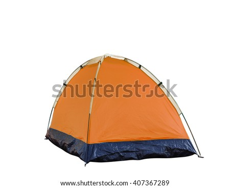 Isolated orange dome tent on white with clipping path - stock photo