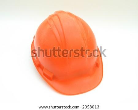Isolated orange hard hat - stock photo
