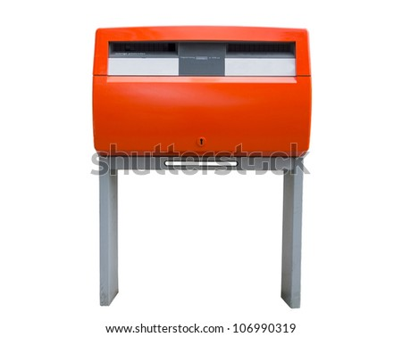 Isolated orange public mailbox with two slots, common in the Netherlands - stock photo