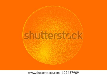 Isolated orange yellow color gradient three dimensional sphere with fine network texture on orange background - stock photo