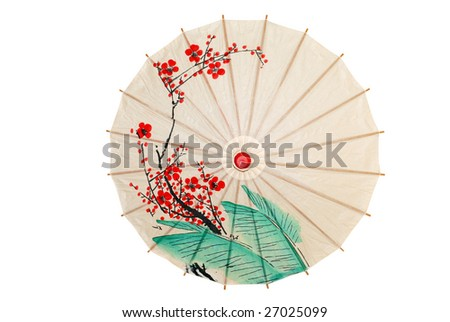 Isolated oriental umbrella with red flowers - stock photo
