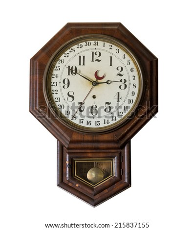 Isolated ornate and complex clockwork wall clock with date indication in Interior of Meeks Store in the national park at Appomattox Virginia - stock photo