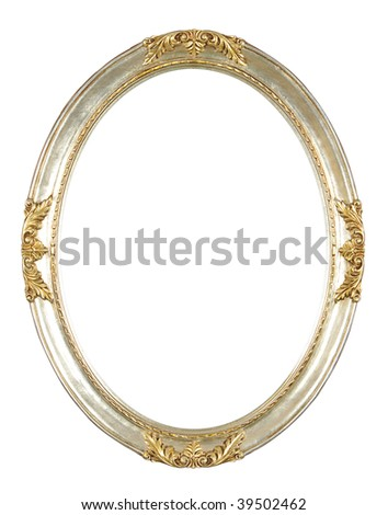 isolated oval frame - stock photo