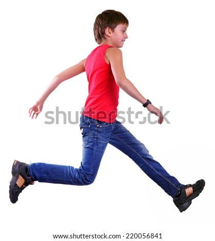 Isolated over white full length portrait of running jumping boy. Hurry up, don't be late, kid! - stock photo