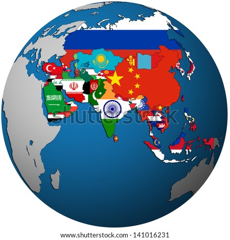 isolated over white territories of asian countries with flags on globe map - stock photo
