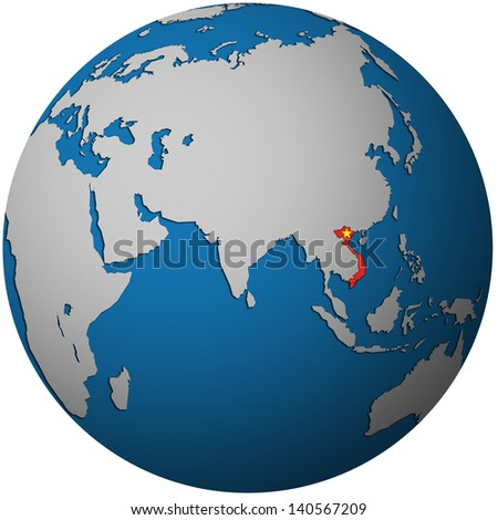 isolated over white territory of vietnam with flag on globe map - stock photo