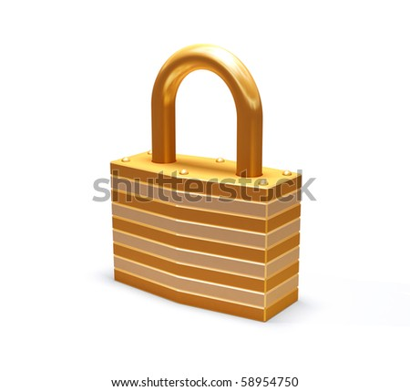 Isolated padlock - stock photo