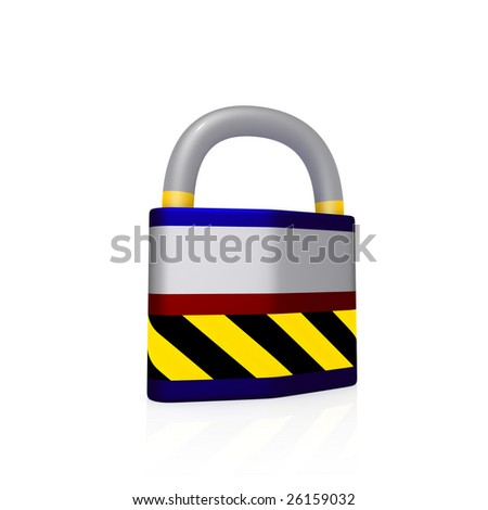 Isolated padlock on white bacground (3d rendering)