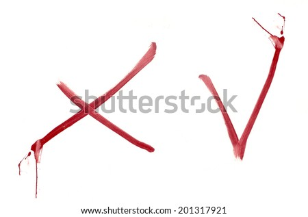 Isolated painted check mark Yes No on white background - stock photo