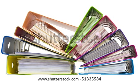 Isolated paper folders (documents, catalogs);  ring binder - stock photo