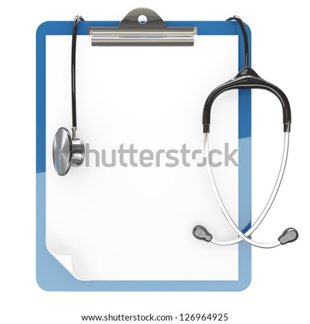 Isolated paper pad holder and stethoscope on white background - stock photo