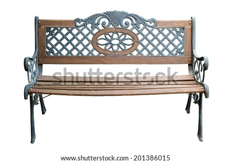 Isolated Park Bench - stock photo