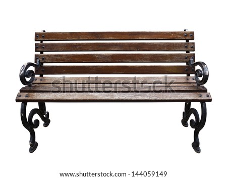 Isolated Park Bench on white background. - stock photo