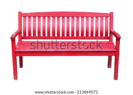Isolated Park Bench with Red Paint ,Mildly Old and Weathered - stock photo