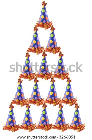 Isolated party hats stacked up in the shape of a pyramid - stock photo