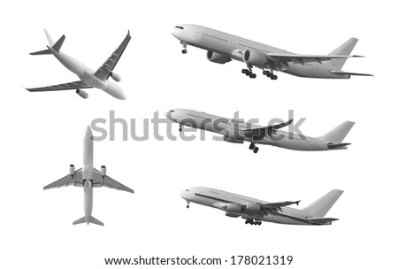 Isolated passenger airplane - stock photo