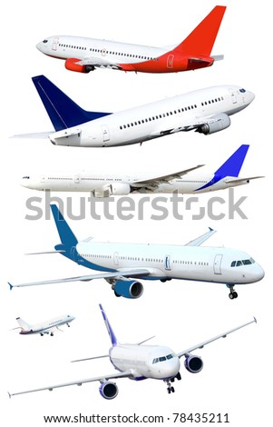 isolated passenger jets, isolated - stock photo