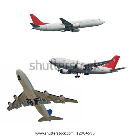isolated passenger jets, three different type and position, isolated - stock photo
