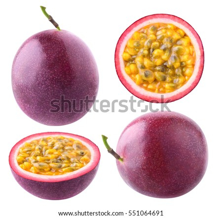 Isolated passionfruit. Collection of whole and cut passion fruits (maracuya) isolated on white background with clipping path
