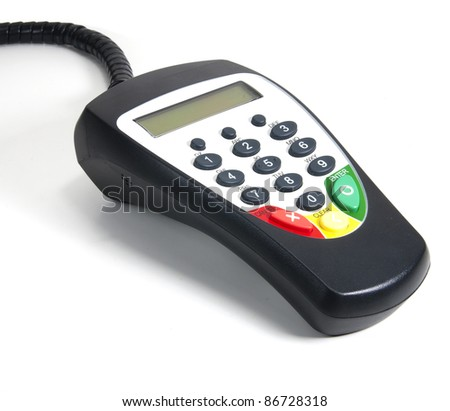 Isolated payment terminal on white background - stock photo