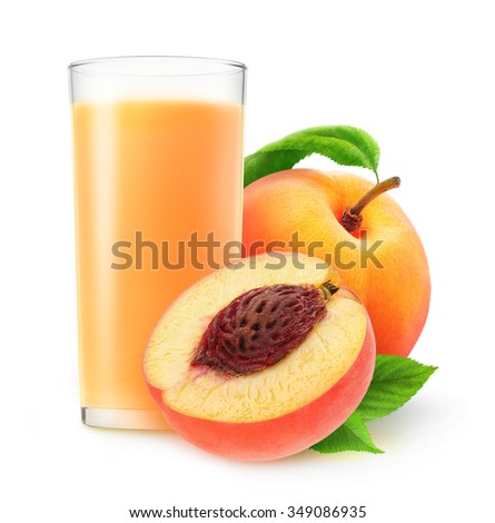 Isolated peach nectar. Glass of peach juice and cut peach fruits isolated on white background with clipping path - stock photo