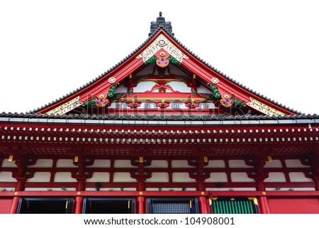 Isolated Pediment on the Side Of Sensoji Asakusa Temple - stock photo