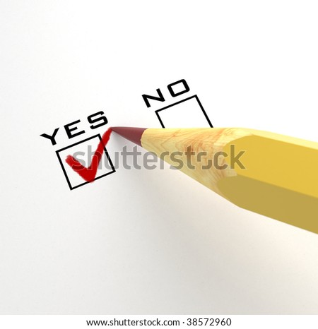 isolated pencil with yes check-box - stock photo