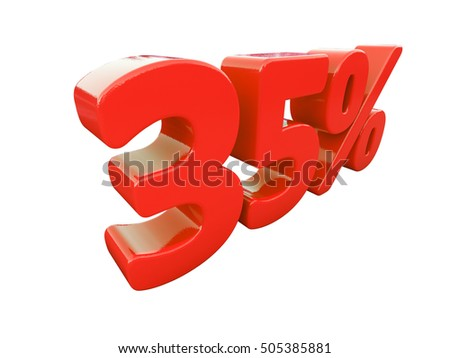 Isolated 35 Percent Discount 3d Sign on White Background, Special Offer 35% Discount Tag, Sale Up to 35 Percent Off, Sale Symbol, Special Offer Label, Sticker, Tag, Badge, Emblem, Web Icon