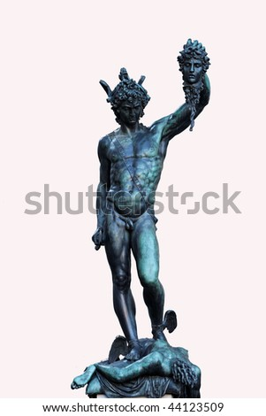 Isolated Perseus Statue from Benvenuto Cellini in Florence - stock photo