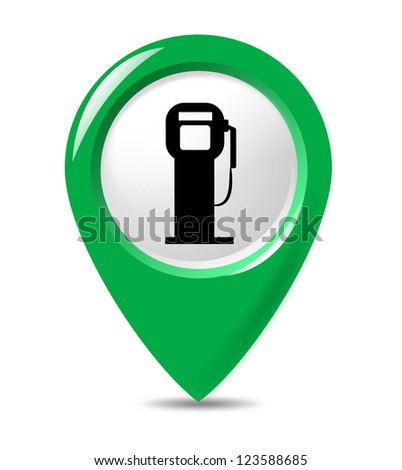 Isolated petrol station sign pointer on white background. - stock photo