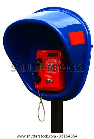 isolated phone booth - stock photo