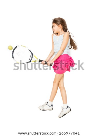 Isolated photo from high point of view of cute girl lying on floor and playing tennis - stock photo