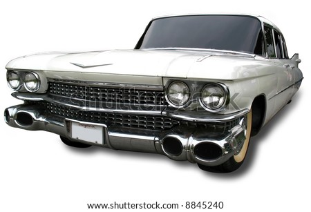 Isolated photo of a Vintage 1959 Retro Car. Clipping Path included for easy selection. - stock photo